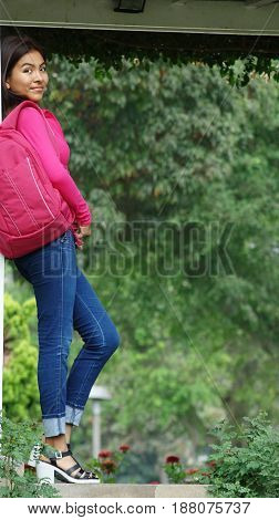 Youthful Peruvian Girl Student in a Public Park