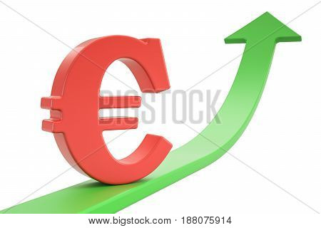Growth green arrow with symbol of euro 3D rendering