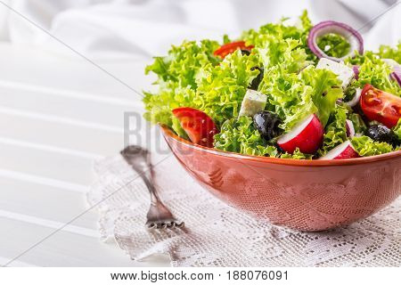Salad. Vegetable salad. Spring vegetable salad.Fresh vegetable salad with tomatoes onion cheese and olives.