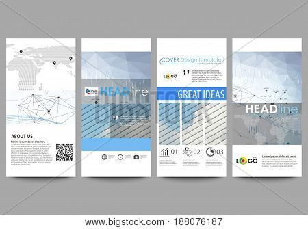 Flyers set, modern banners. Business templates. Cover design template, easy editable abstract vector layouts. Blue color abstract infographic background in minimalist style made from lines, symbols, charts, diagrams and other elements.