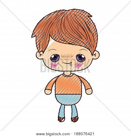 colored crayon silhouette of kawaii little boy with embarrassed facial expression vector illustration