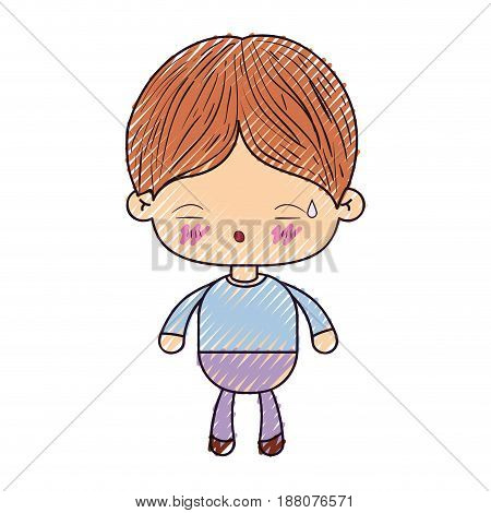 colored crayon silhouette of kawaii little boy with facial expression of tired vector illustration