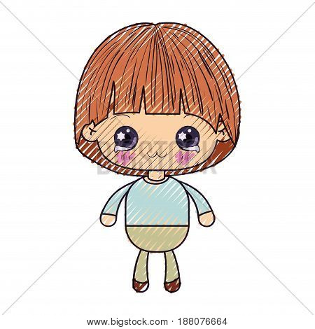 colored crayon silhouette of kawaii little boy with facial expression depressed vector illustration