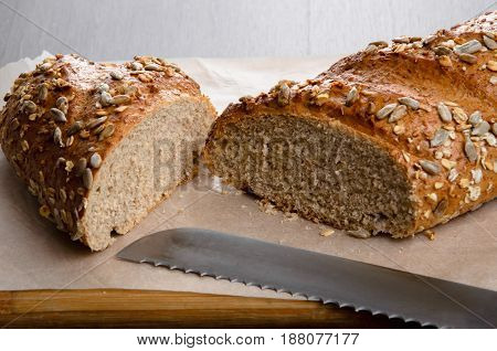 Home made bread on the wooden table