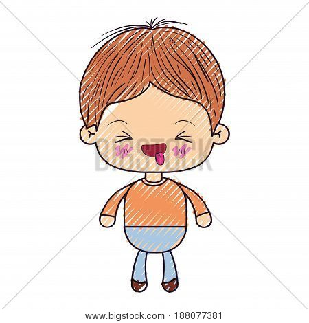 colored crayon silhouette of kawaii little boy with facial expression funny with closed eyes vector illustration