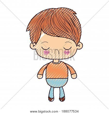 colored crayon silhouette of kawaii little boy with facial expression disgust with closed eyes vector illustration