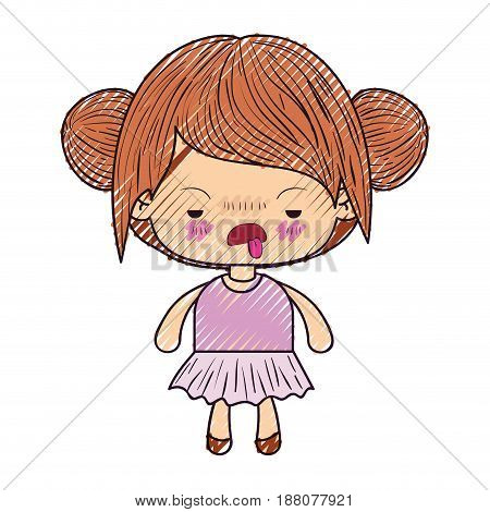 colored crayon silhouette of kawaii little girl with collected hair and facial expression unsavory vector illustration