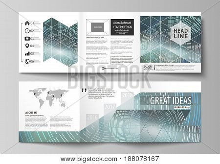 Set of business templates for tri fold square design brochures. Leaflet cover, abstract flat layout, easy editable vector. Technology background in geometric style made from circles