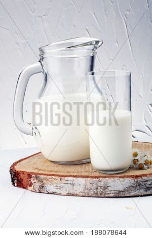Milk Jug And Glass Milk - Healthy Lifestyle Concept