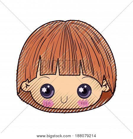 colored crayon silhouette of kawaii head of little boy with facial expression depressed vector illustration