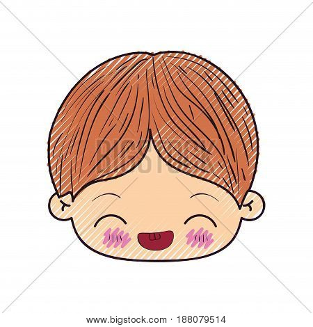 colored crayon silhouette of kawaii head of little boy with facial expression laughing in closeup vector illustration