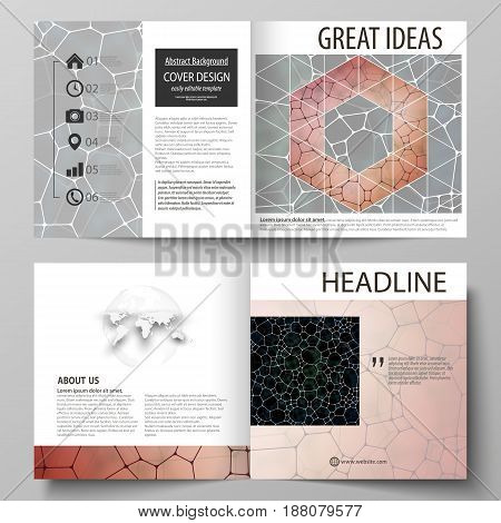 Business templates for square design bi fold brochure, magazine, flyer, booklet or annual report. Leaflet cover, abstract flat layout, easy editable vector. Chemistry pattern, molecular texture, polygonal molecule structure, cell. Medicine, science, micro