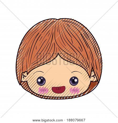 colored crayon silhouette of kawaii head of little boy smiling in closeup vector illustration
