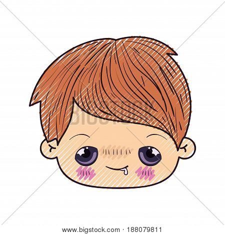 colored crayon silhouette of kawaii head of little boy with embarrassed facial expression vector illustration