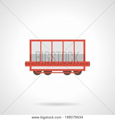 Symbol of rail freight wagon or boxcar. Railroad transportation of cargoes. Flat color style vector icon.