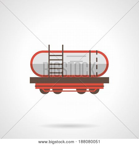 Symbol of petroleum rail car with red elements. Railroad transportation of liquid cargoes. Flat color style vector icon.