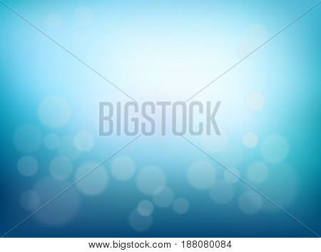 Abstract Blurred background. Blue gradient backdrop with bokeh effect and a sunlight. Poster water backdrop. Vector