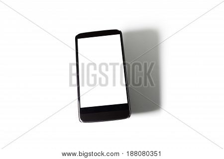 cellphone and shadow with blank screen. communication concept.