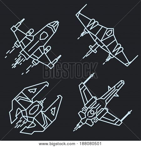 Spaceship set in space outline, linear flying rocket, spacecraft cosmos adventure graphic design. vector