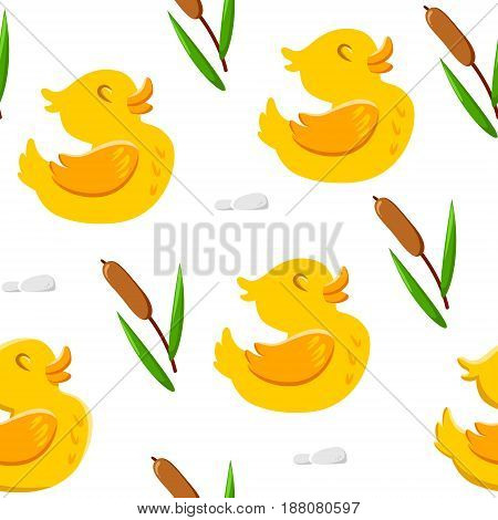 Seamless pattern with cute duck and reeds. Ornament for children's textiles and wrapping. Vector background.