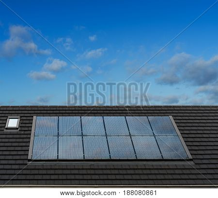Solar Panels on roof of English Style Architecture House