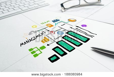 Business workplace with keyboard and marketing ideas