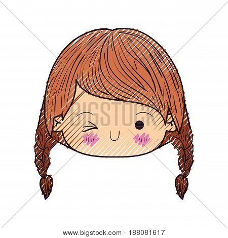 colored crayon silhouette of kawaii head little girl with braided hair and facial expression wink eye vector illustration
