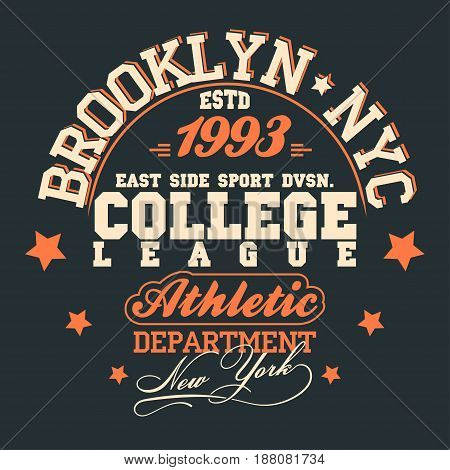 T-shirt stamp New York graphic set, Sport wear typography emblem, vintage tee, athletic apparel design print. vector