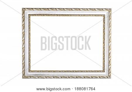 Vintage old wooden frame. Isolated on white background
