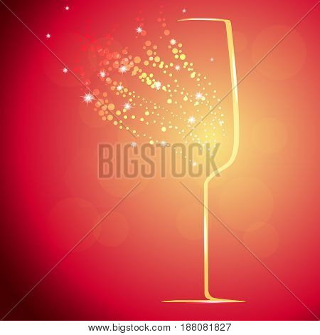 Background with champagne glass and splashes vector illustration