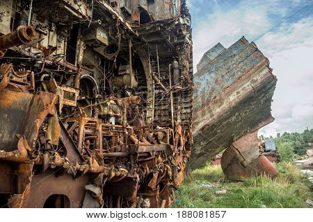 Rusty ruins Russian sunken warship Indomitable (Neukrotimiy) raised from the bottom and sawed for scrap metal