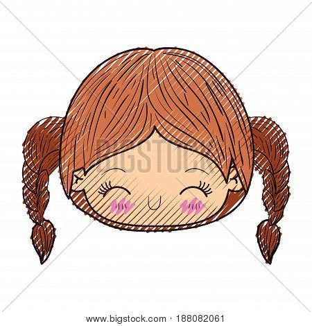 colored crayon silhouette of kawaii head little girl with braided hair and facial expression laughing vector illustration