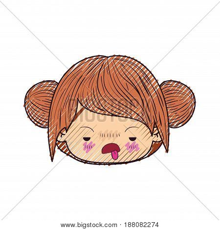 colored crayon silhouette of kawaii head cute little girl with double bun hair and unsavory facial expression vector illustration