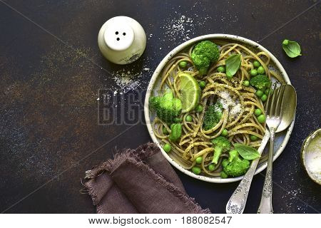 Wholewheat Organic Pasta With Green Vegetables.top View With Copy Space.