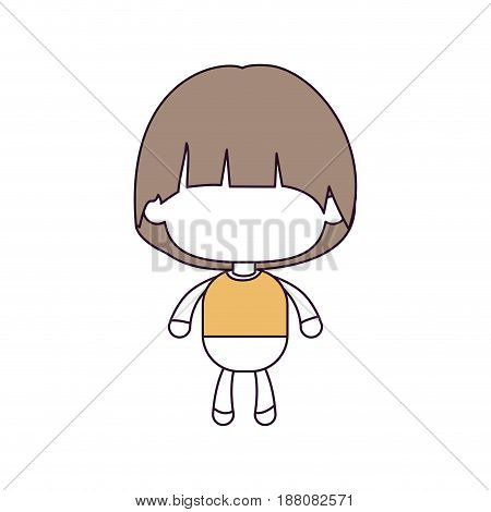 silhouette color sections and light brown hair of faceless little boy with mushroom haircut vector illustration
