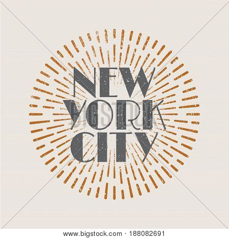 Vintage abstract label with sunburst and title New York City. Vector illustration