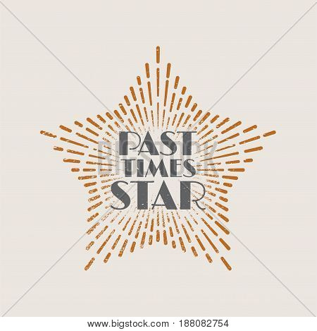 Vintage abstract label with sunburst and title Past time star. Vector illustration