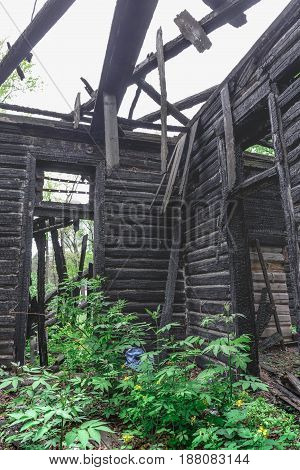 Inside interior of room without roof in old abandoned wooden burned out mansion building, vertical image