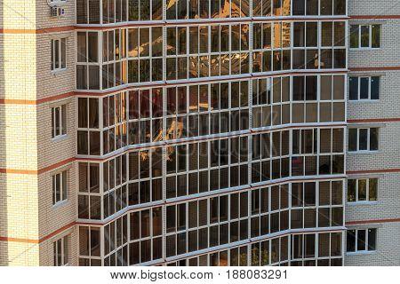 Modern building facade exterior, windows pattern construction, modern architecture