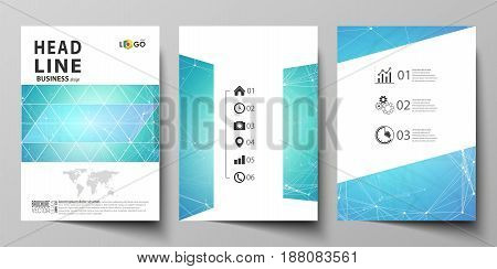 Business templates for brochure, magazine, flyer, booklet or annual report. Cover design template, easy editable vector, abstract flat layout in A4 size. Chemistry pattern, connecting lines and dots, molecule structure, medical DNA research. Medicine conc