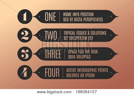 Set of infographic design, vintage arrows, banners, numbers and text for industrial design, navigation sign in market place, bank, hotel. Business concept elements in retro style. Vector Illustration