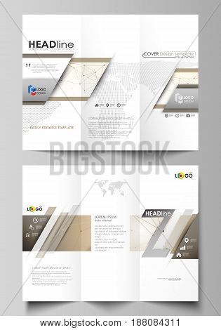 Tri-fold brochure business templates on both sides. Easy editable abstract vector layout in flat design. Technology, science, medical concept. Golden dots and lines, cybernetic digital style. Lines plexus.