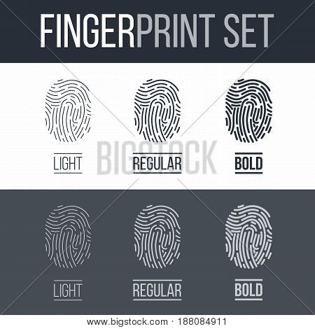 Biometric Fingerprints Set for Security ID on Dark and White Background