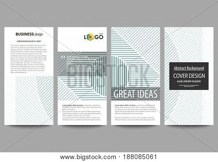 Flyers set, modern banners. Business templates. Cover design template, easy editable abstract vector layouts. Minimalistic background with lines. Gray color geometric shapes forming simple beautiful pattern.