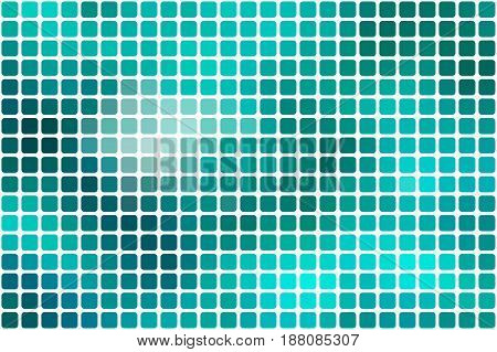 Turquoise green vector abstract mosaic background with rounded corners square tiles over white