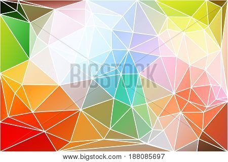 Rainbow colors abstract low poly geometric background with white triangle mesh.