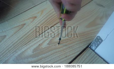 male hand twist the screw into a wooden Board using a power screwdriver.