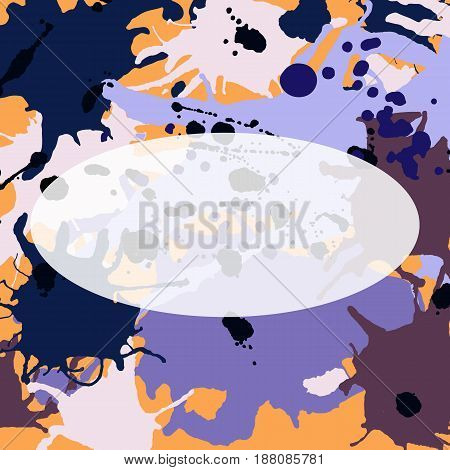Purple lilac orange brown artistic ink splashes vector background. Greeting card or invitation template with semi-transparent ellipse frame for text