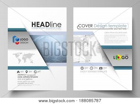 The vector illustration of the editable layout of two A4 format modern covers design templates for brochure, magazine, flyer, report. World globe on blue. Global network connections, lines and dots