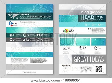 The abstract minimalistic vector illustration of the editable layout of two modern blog graphic pages mockup design templates. Chemistry pattern. Molecule structure. Medical, science background